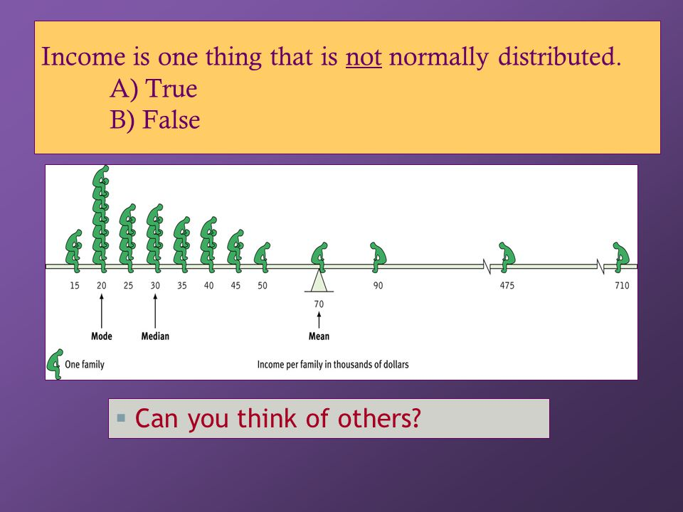 Income is one thing that is not normally distributed. A) True B) False