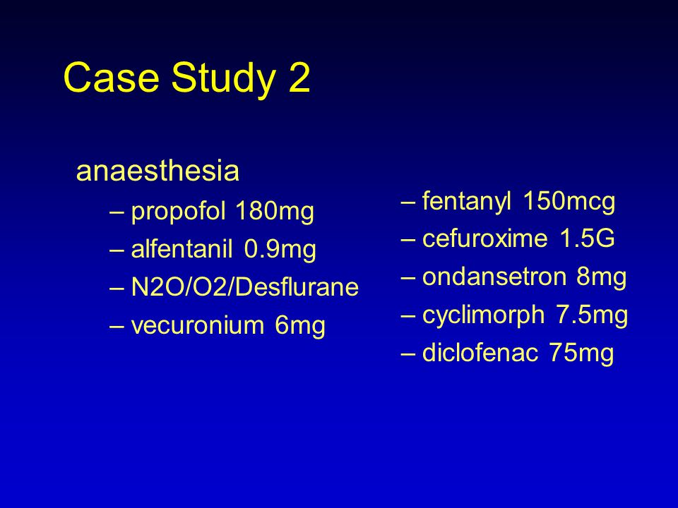 Case Study 2 anaesthesia fentanyl 150mcg propofol 180mg