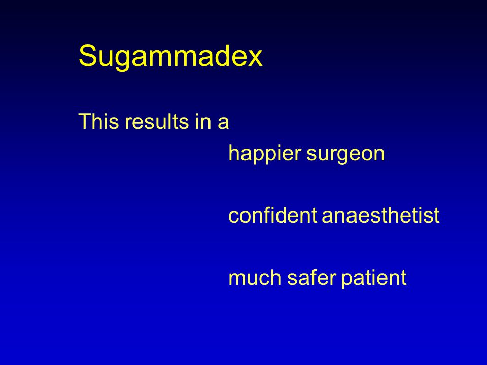 Sugammadex This results in a happier surgeon confident anaesthetist