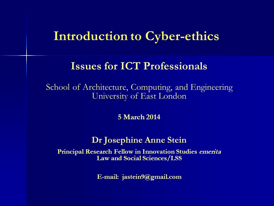 Introduction to Cyber-ethics