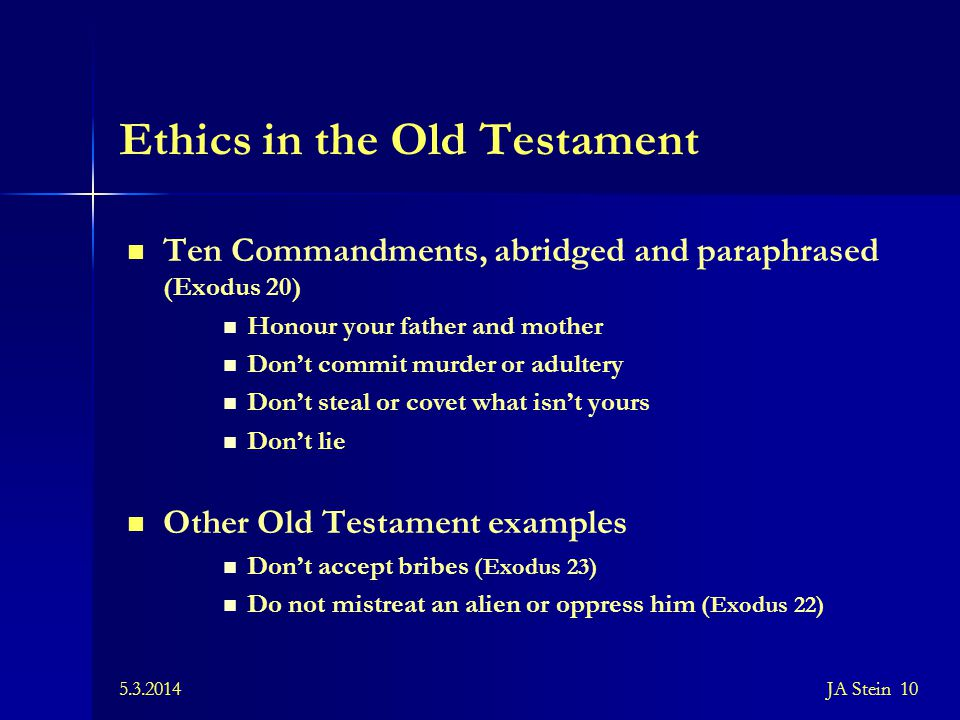 Ethics in the Old Testament