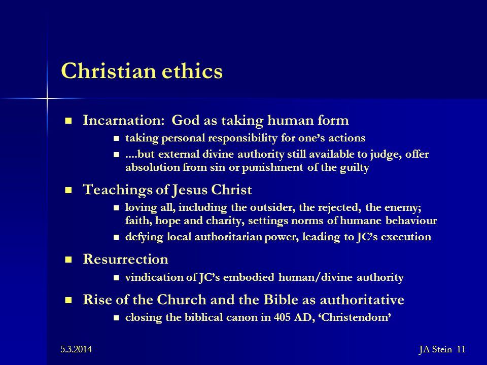 Christian ethics Incarnation: God as taking human form