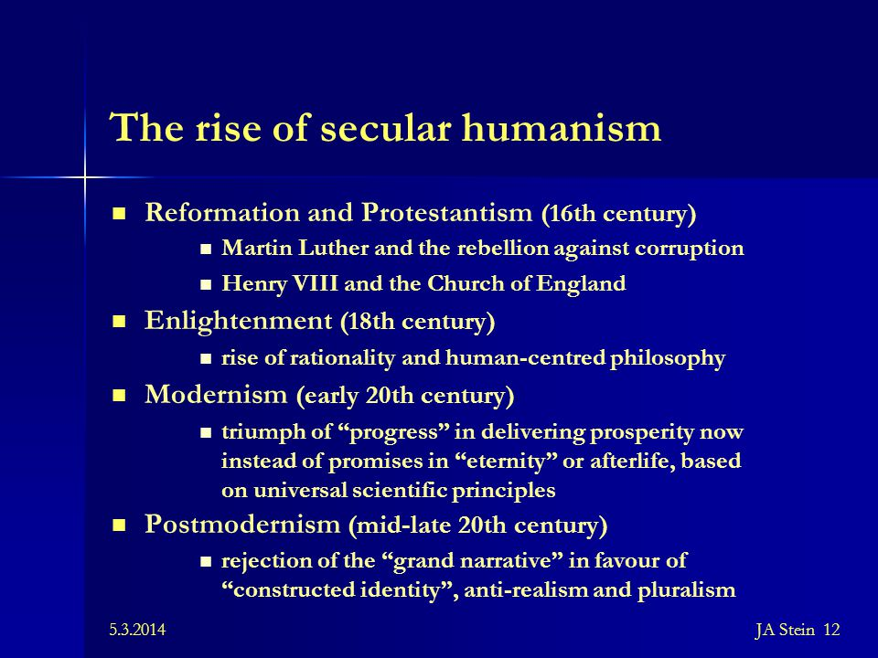 The rise of secular humanism