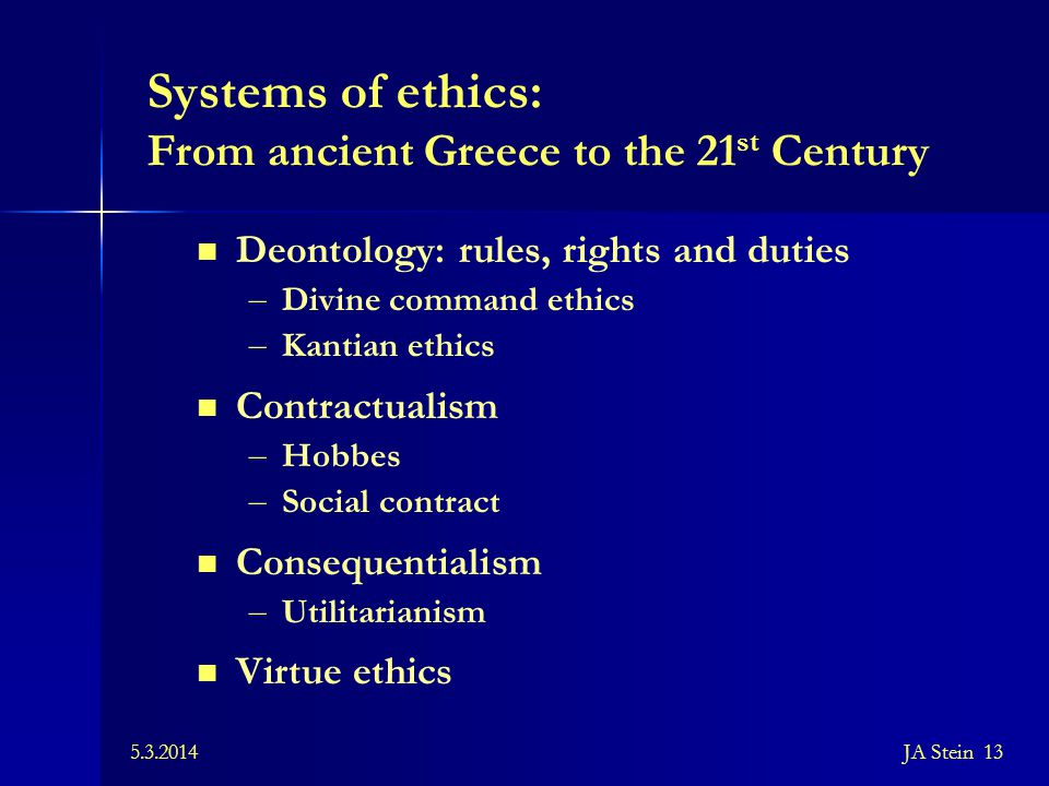 Systems of ethics: From ancient Greece to the 21st Century