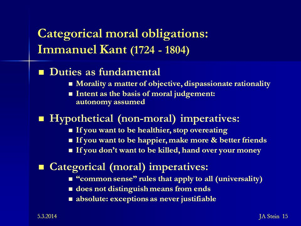 Categorical moral obligations: Immanuel Kant (1724 - 1804)