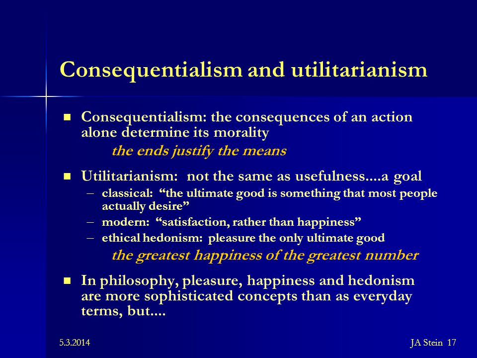 Consequentialism and utilitarianism