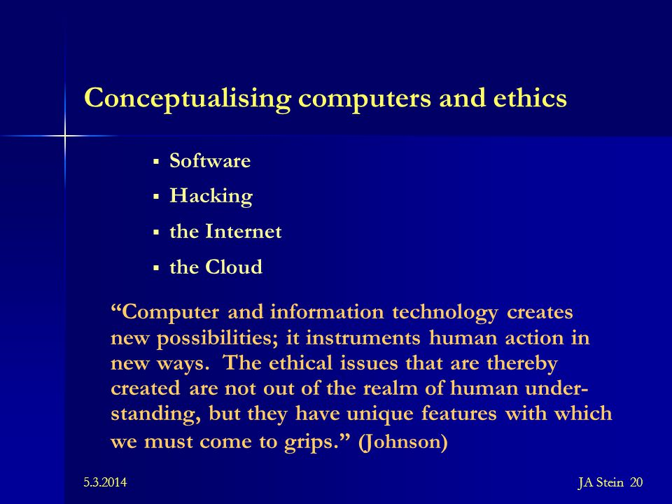 Conceptualising computers and ethics