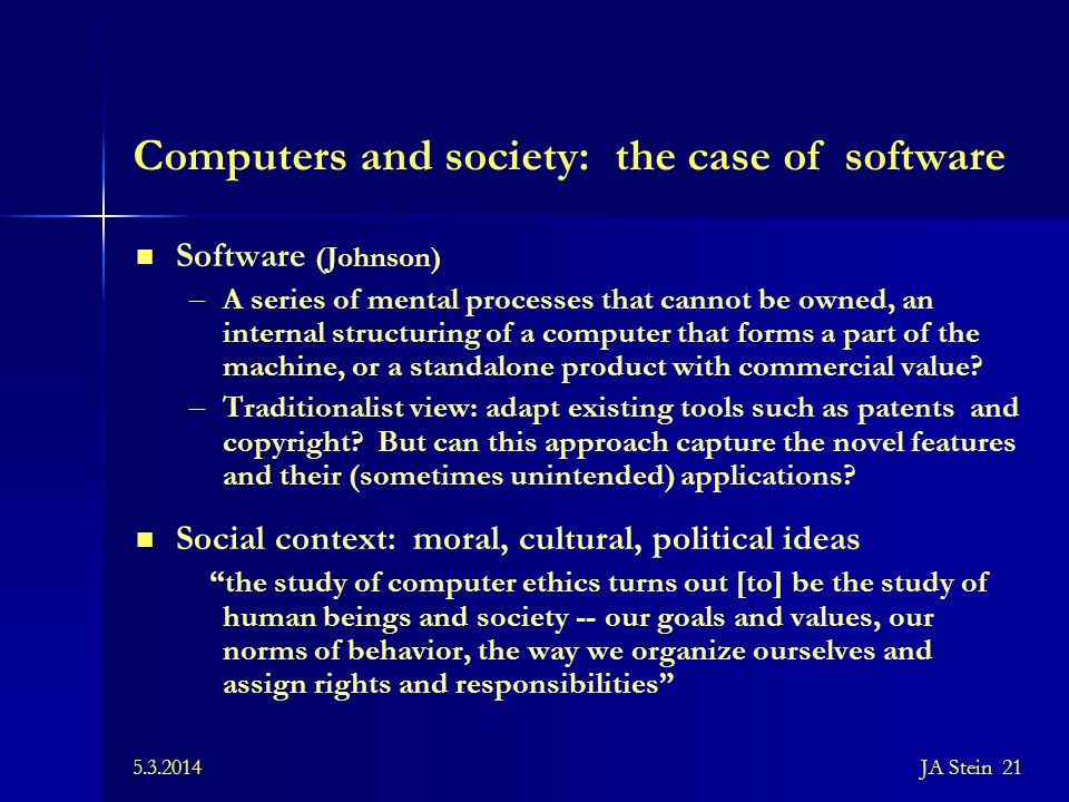 Computers and society: the case of software