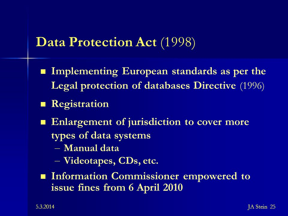 Data Protection Act (1998) Implementing European standards as per the Legal protection of databases Directive (1996)