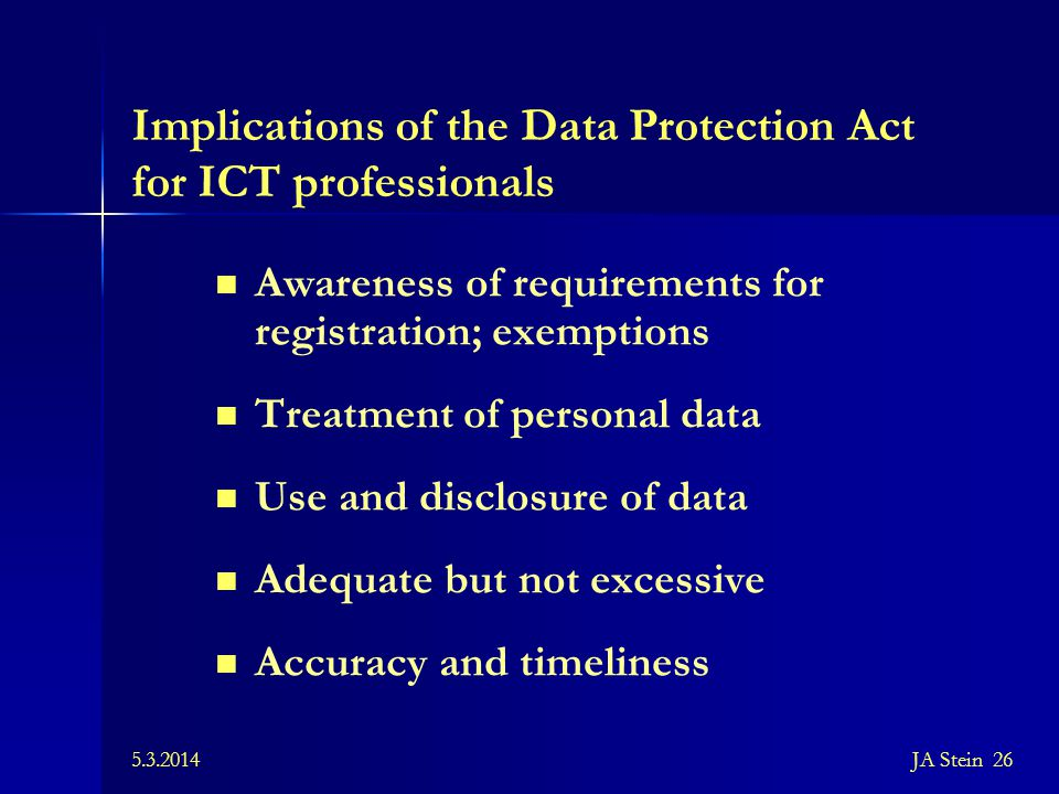 Implications of the Data Protection Act for ICT professionals