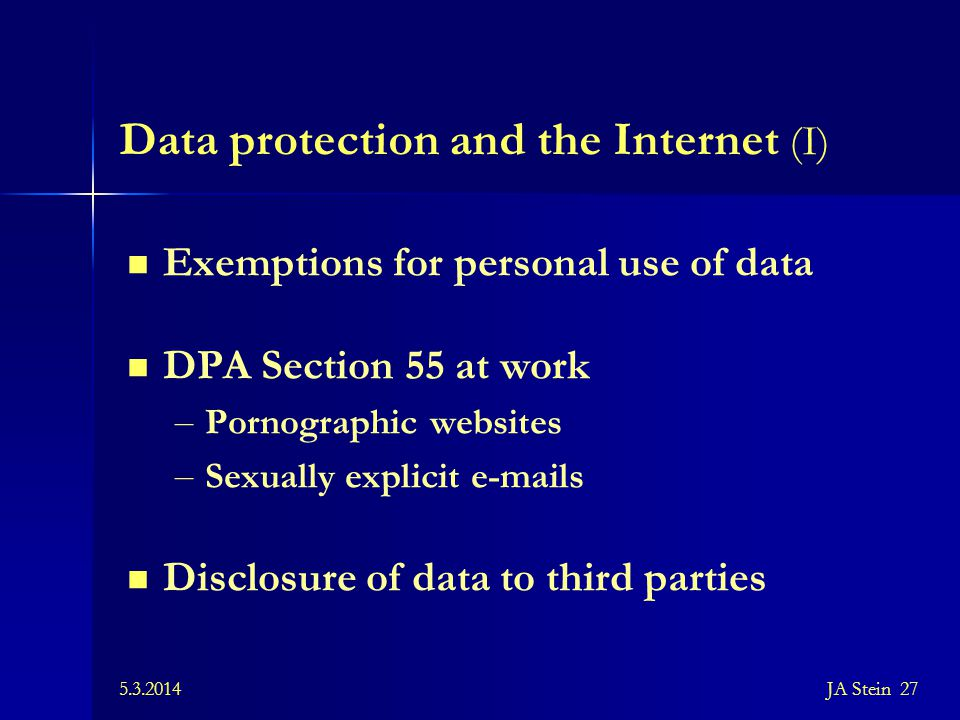 Data protection and the Internet (I)