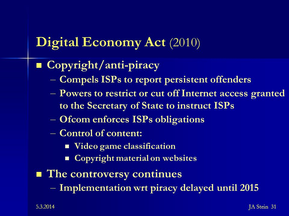 Digital Economy Act (2010) Copyright/anti-piracy