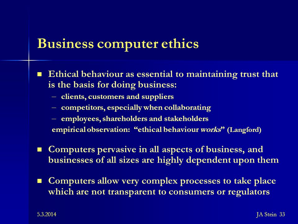 Business computer ethics