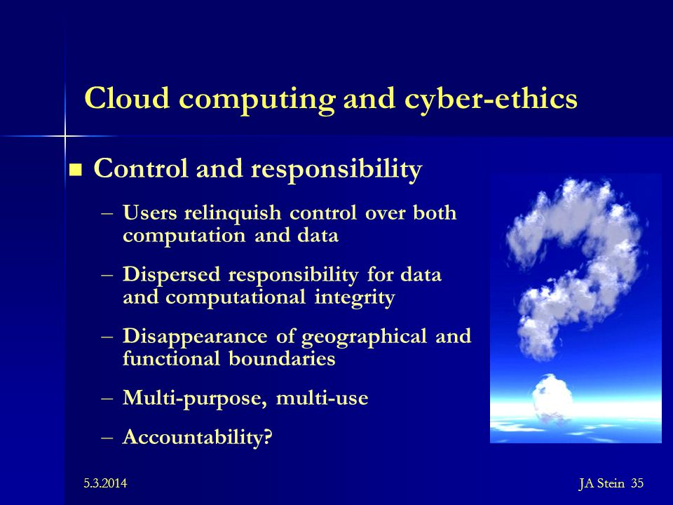 Cloud computing and cyber-ethics