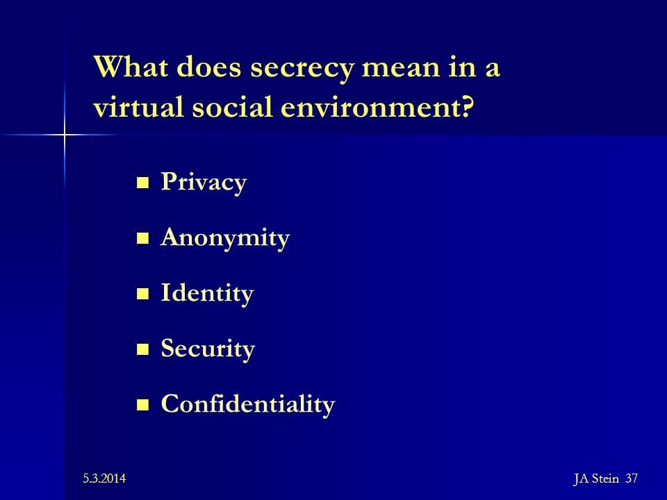 What does secrecy mean in a virtual social environment