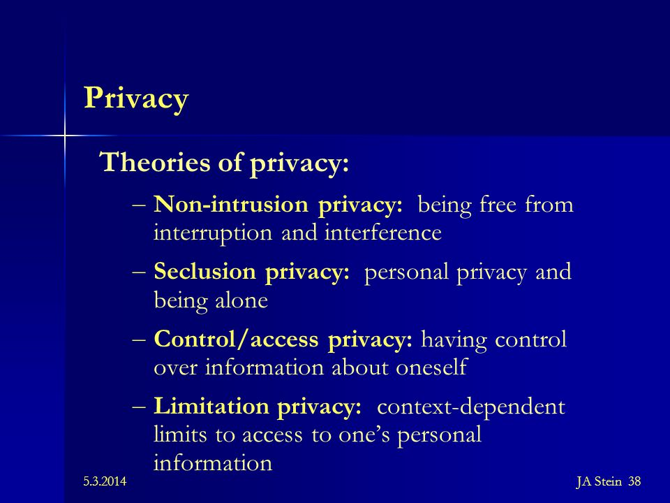 Privacy Theories of privacy: