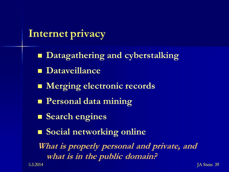 Internet privacy Datagathering and cyberstalking Dataveillance