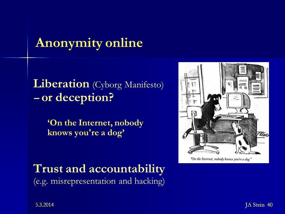 Anonymity online Liberation (Cyborg Manifesto)