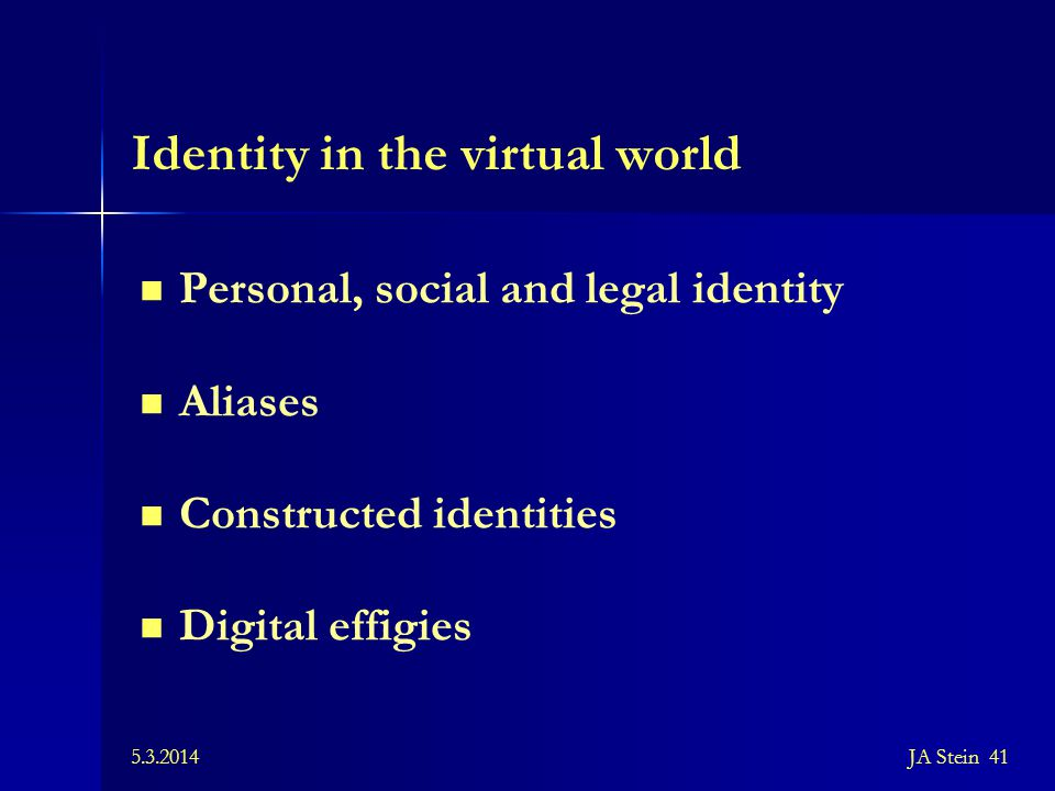 Identity in the virtual world