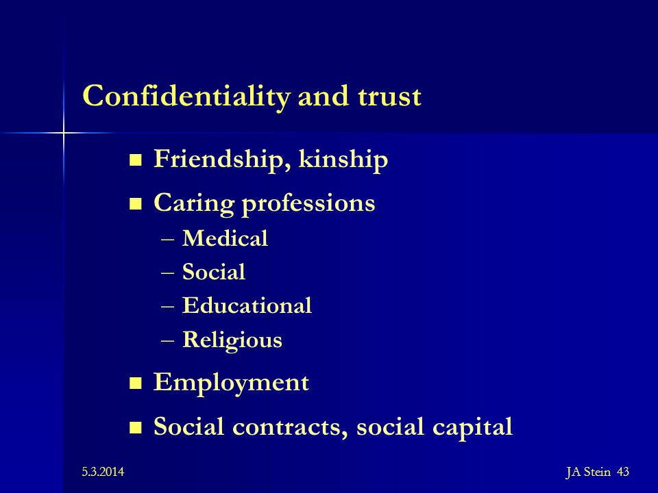 Confidentiality and trust