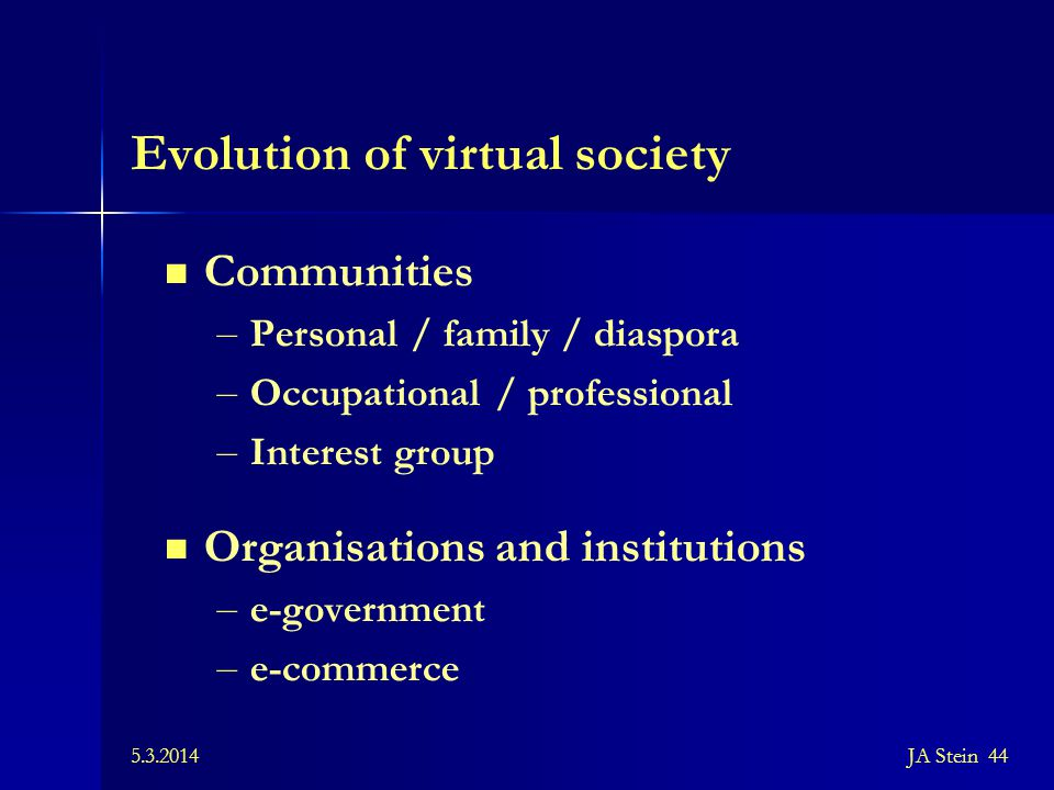 Evolution of virtual society