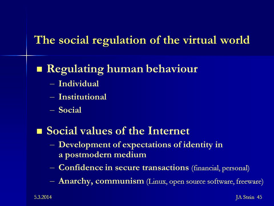 The social regulation of the virtual world
