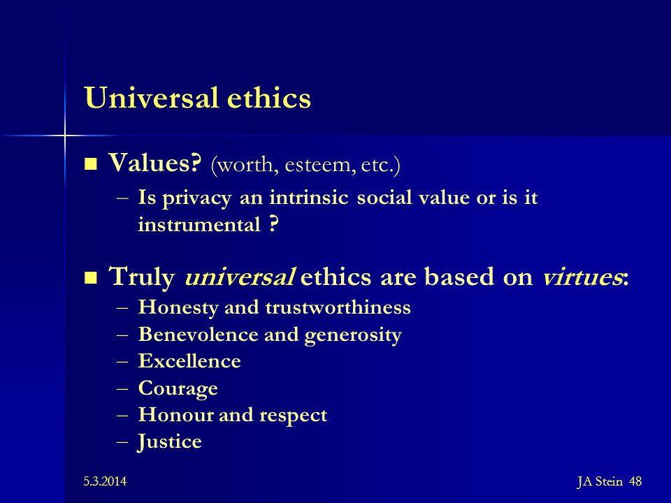 Universal ethics Values (worth, esteem, etc.)