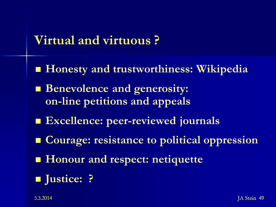 Virtual and virtuous Honesty and trustworthiness: Wikipedia