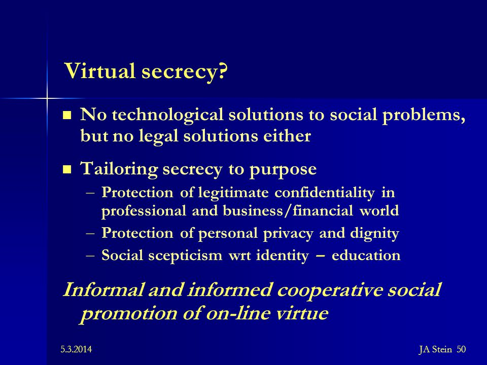 Virtual secrecy No technological solutions to social problems, but no legal solutions either. Tailoring secrecy to purpose.
