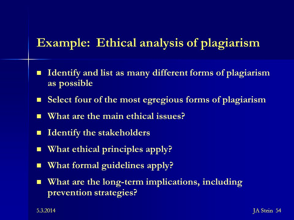 Example: Ethical analysis of plagiarism
