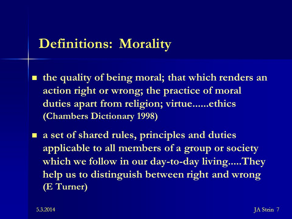 Definitions: Morality