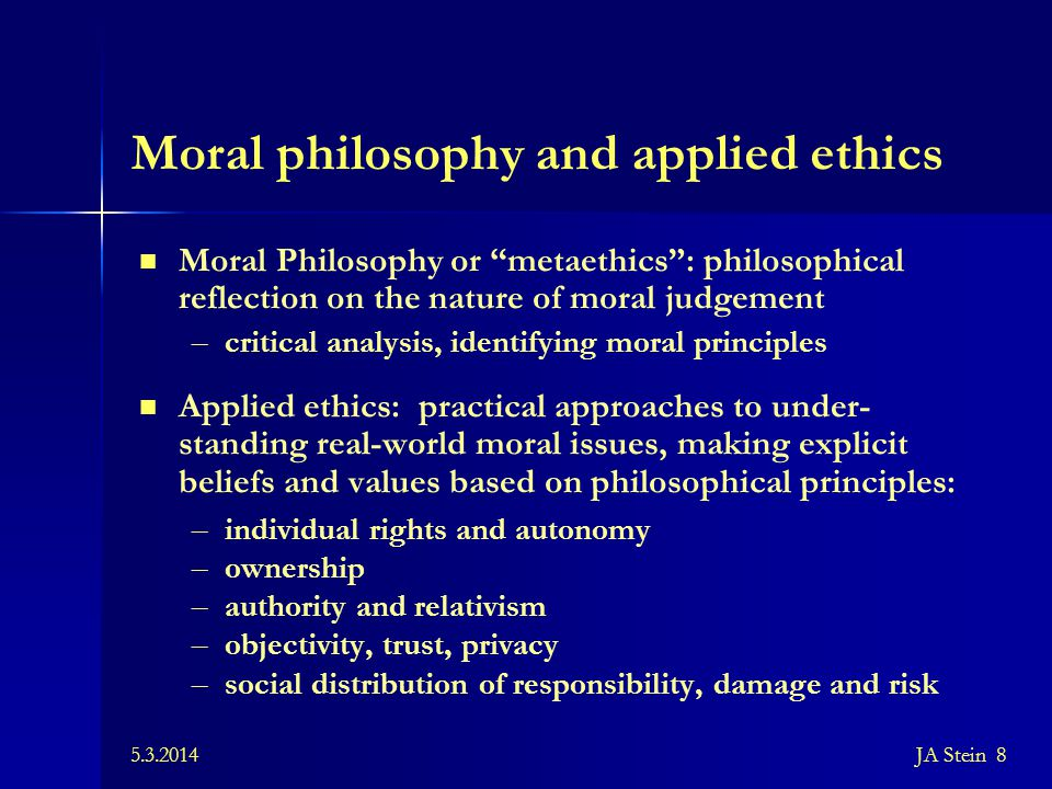Moral philosophy and applied ethics