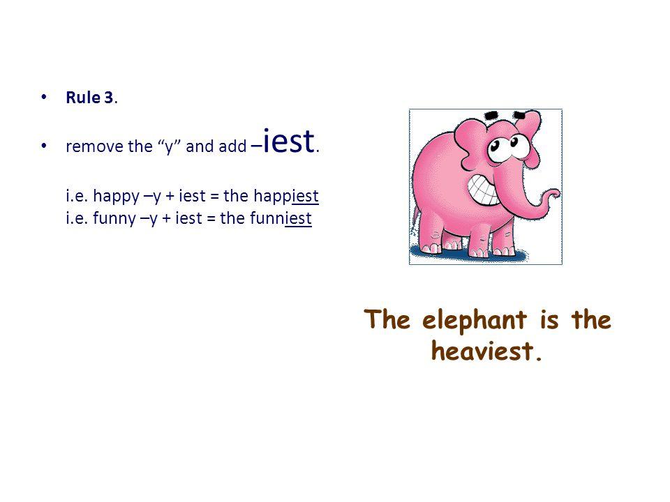 The elephant is the heaviest.