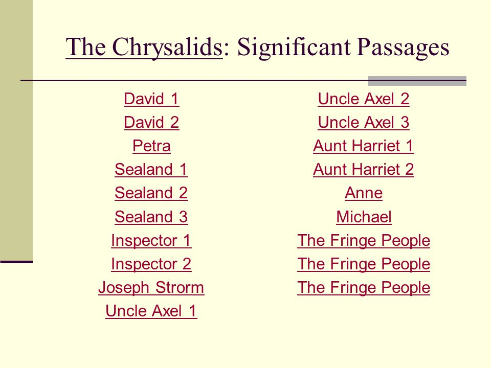 the chrysalids 1 Chrysalids-1 as he grows up david's austere but orderly world is disrupted by a  series of events this begins when he becomes friends with a.