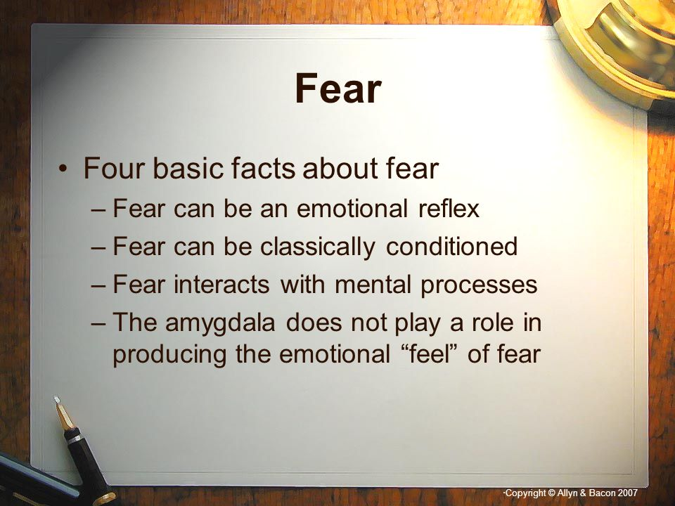 Fear Four basic facts about fear Fear can be an emotional reflex