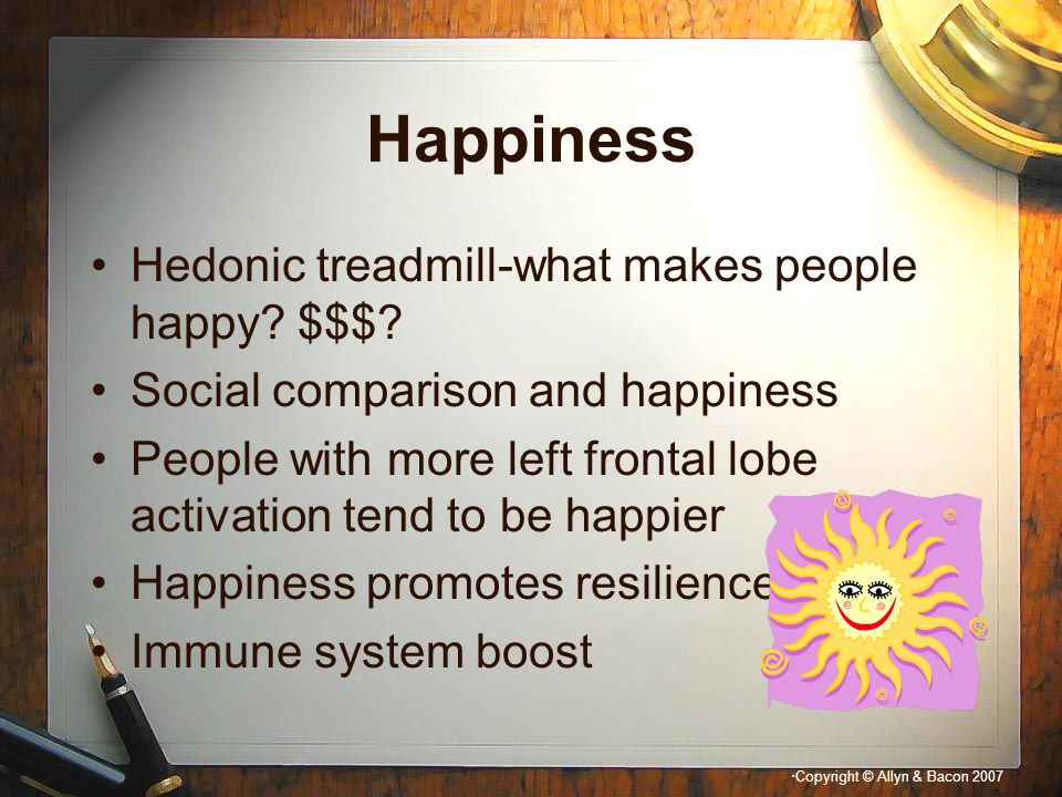 Happiness Hedonic treadmill-what makes people happy $$$