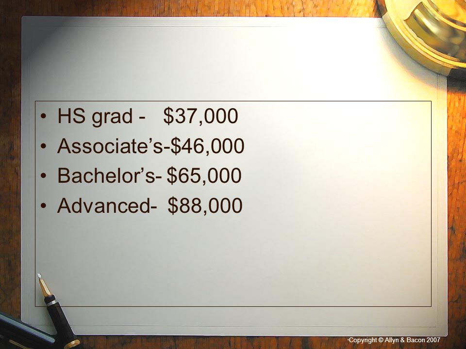 HS grad - $37,000 Associate's-$46,000 Bachelor's- $65,000 Advanced- $88,000