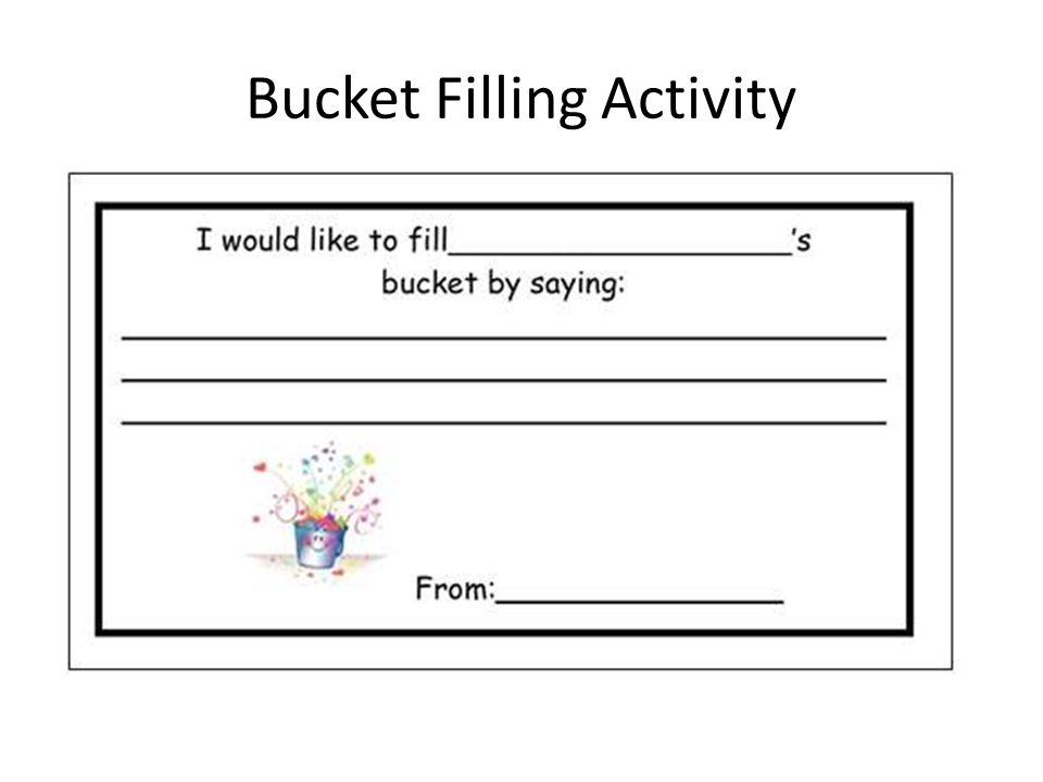 Bucket Filling Activity