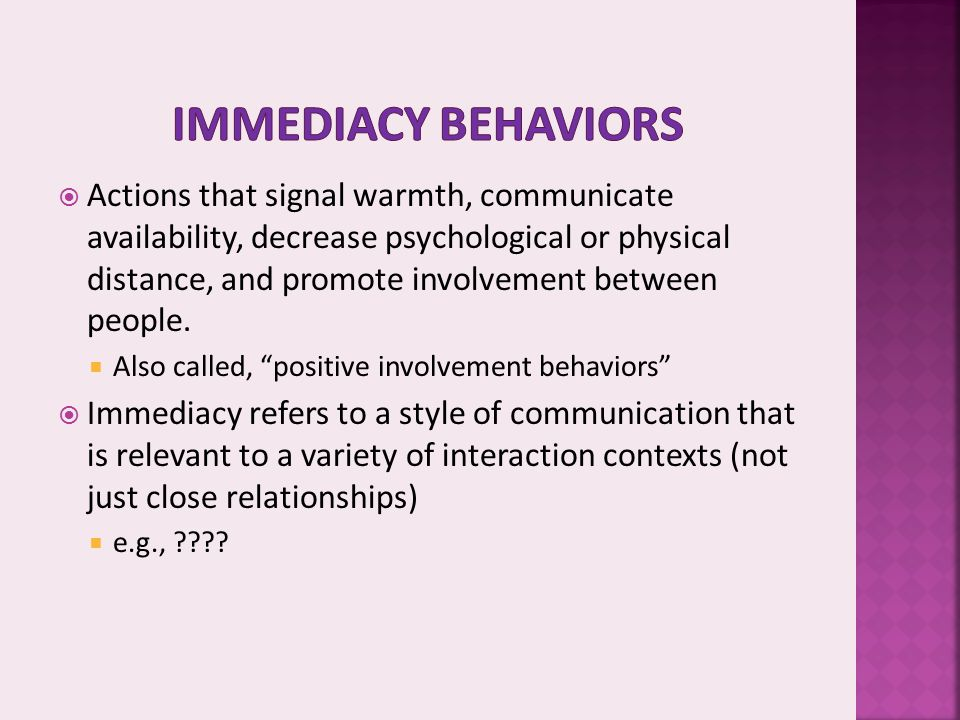 Immediacy behaviors