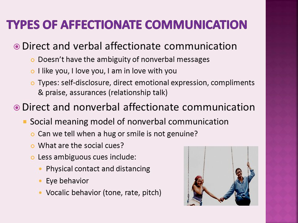 Types of affectionate communication