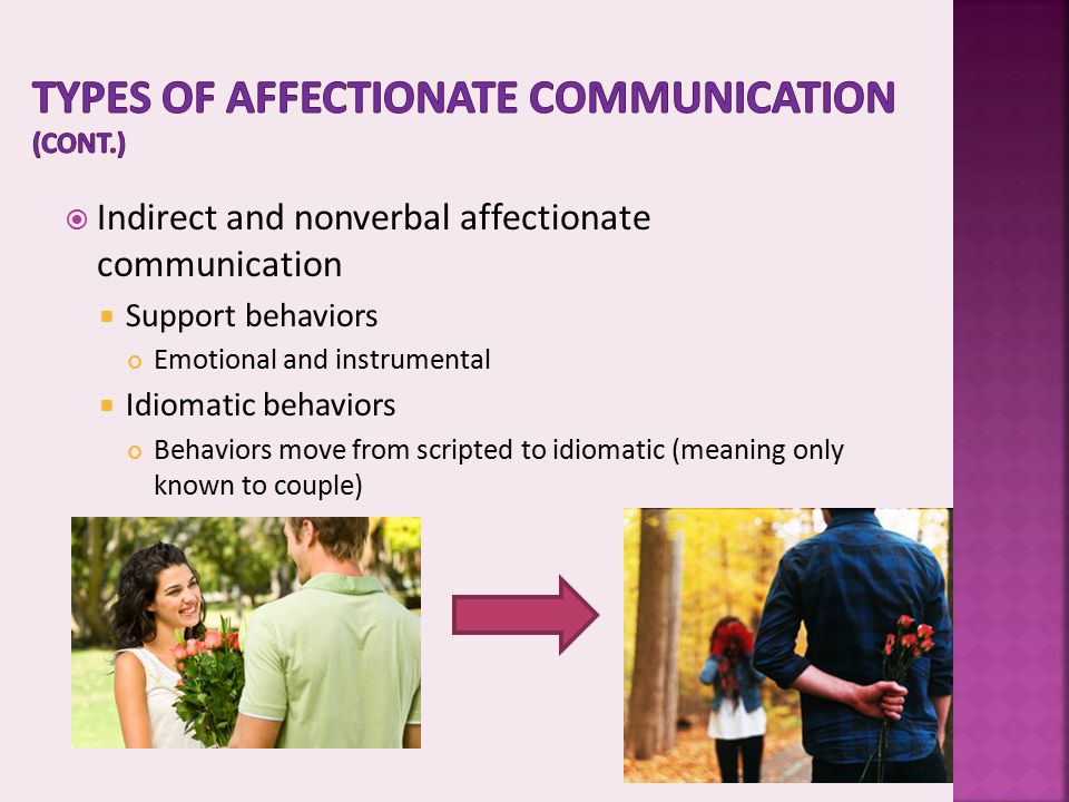 Types of affectionate communication (cont.)