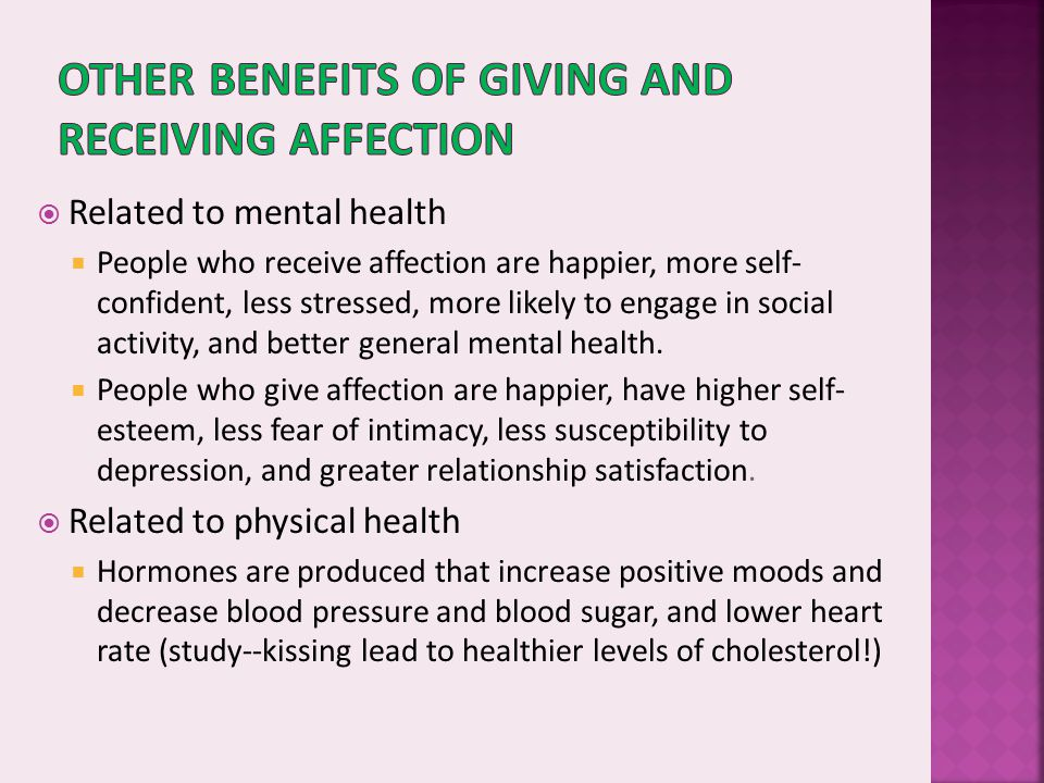 Other benefits of giving and receiving affection