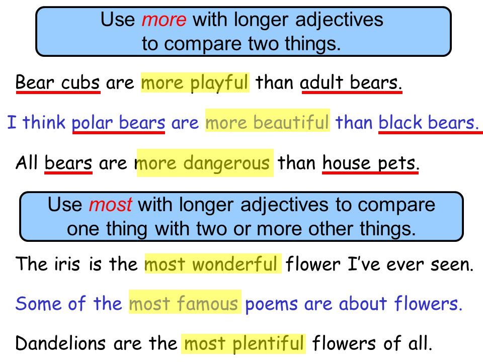 Use more with longer adjectives to compare two things.