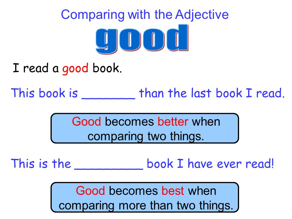 good Comparing with the Adjective I read a good book.