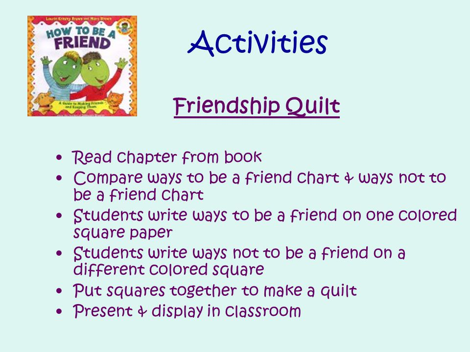 Activities Friendship Quilt Read chapter from book