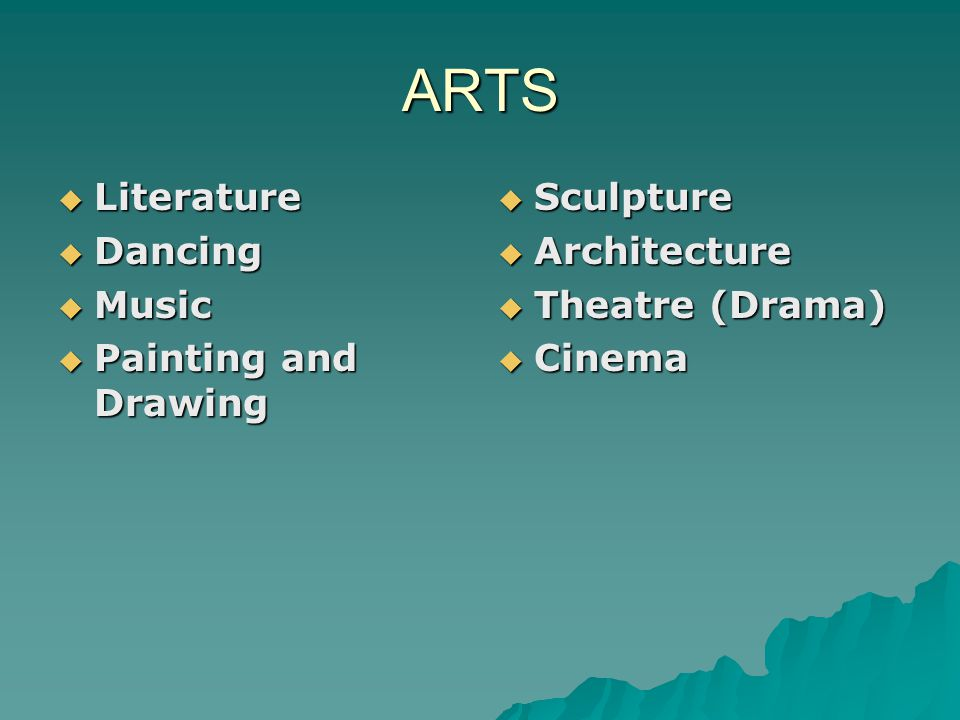 ARTS Literature Dancing Music Painting and Drawing Sculpture