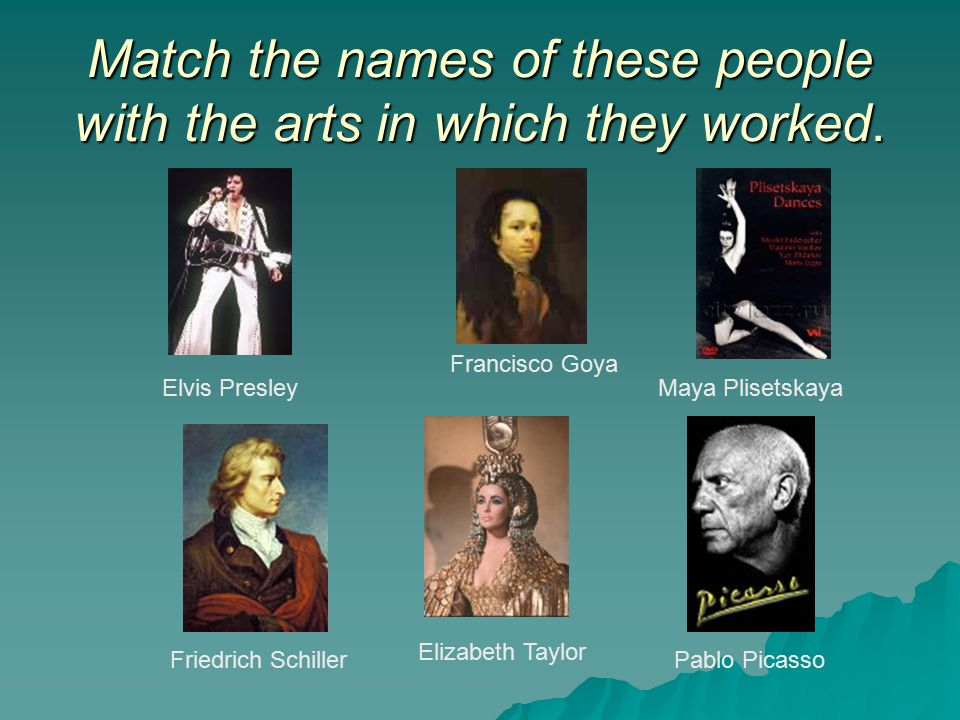 Match the names of these people with the arts in which they worked.