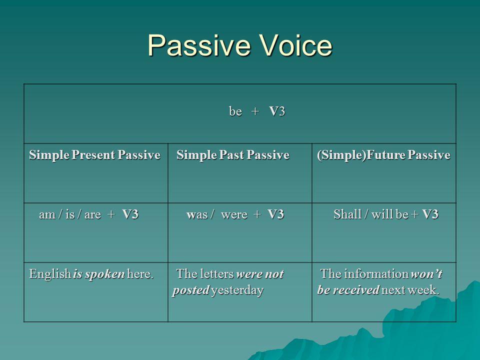 Passive Voice be + V3 Simple Present Passive Simple Past Passive