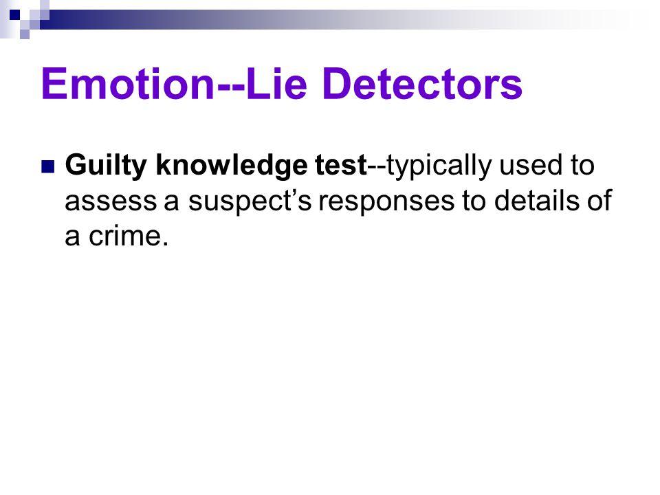Emotion--Lie Detectors