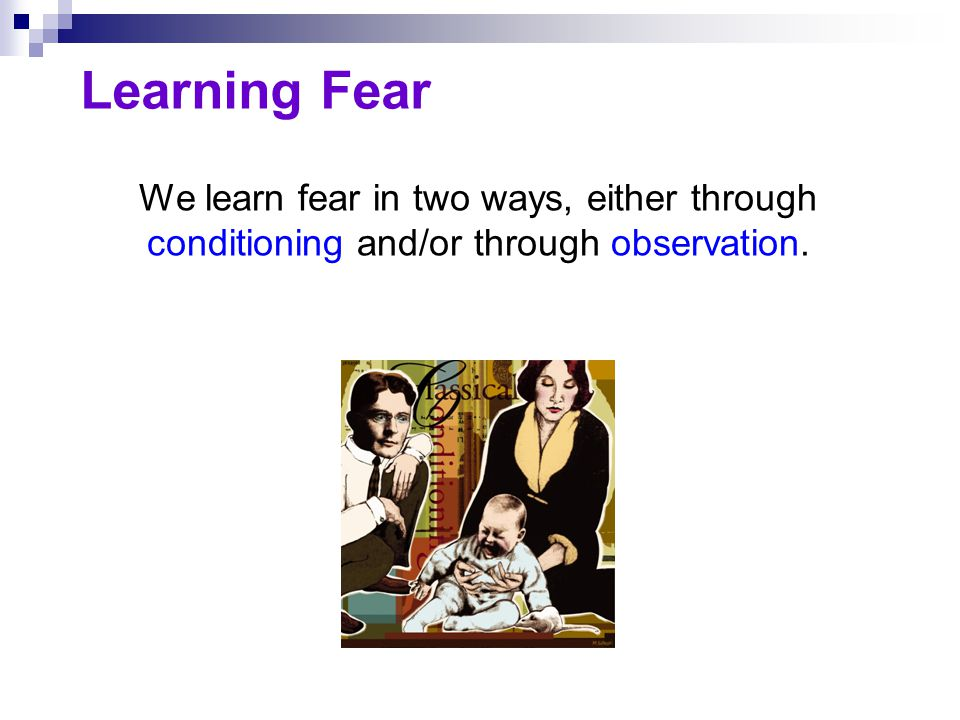 Learning Fear We learn fear in two ways, either through conditioning and/or through observation.